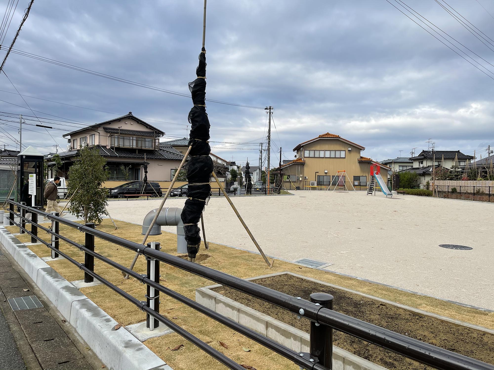 復旧工事を担当した富山市長江町の公園用水沿いには桜の木を植えた